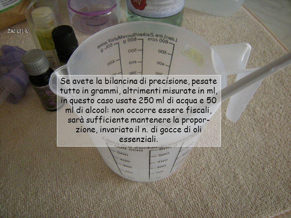 Occorrente: 250 grammi di acqua distillata; 15 g.