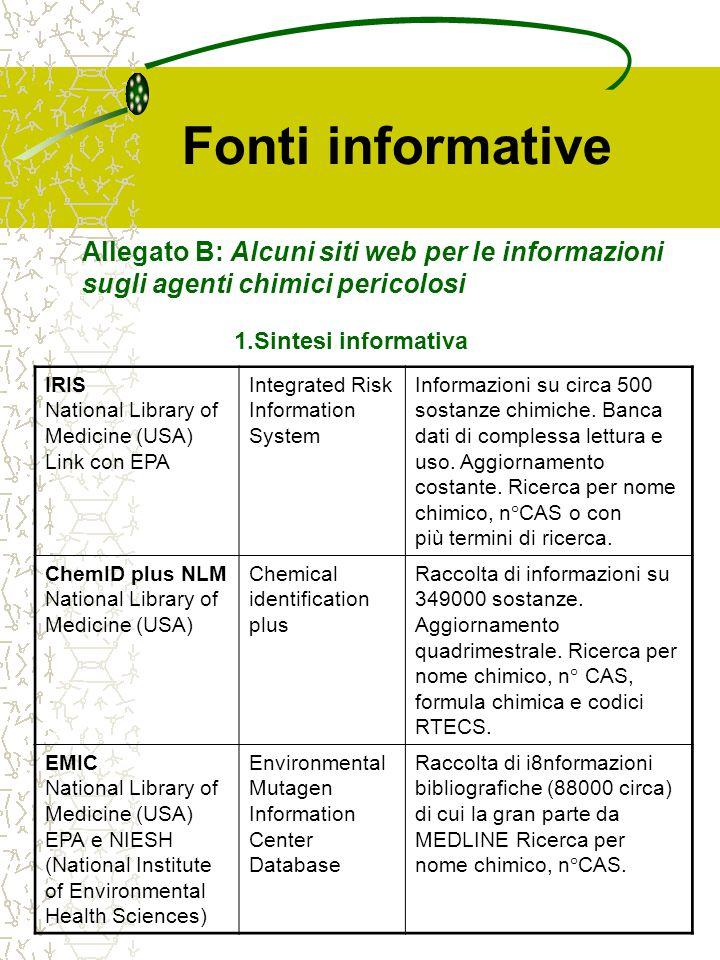 Fonti informative IRIS National Library of Medicine (USA) Link con EPA Integrated Risk Information System Informazioni su circa 500 sostanze chimiche.