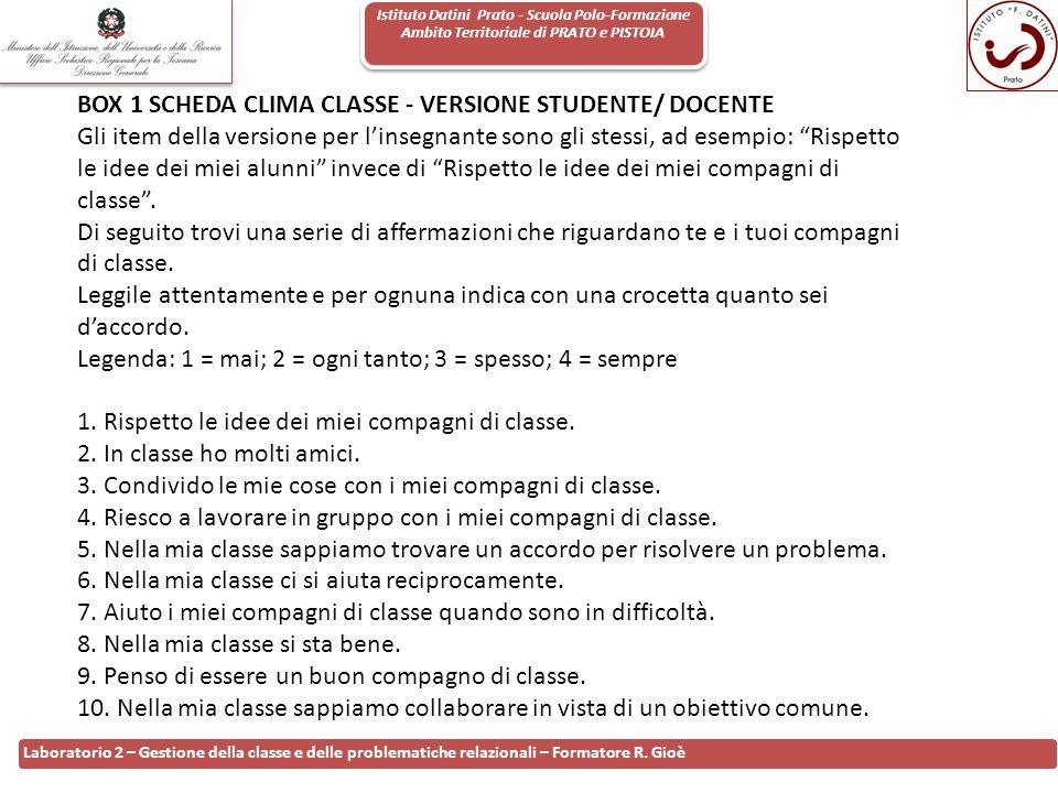 Istituto Datini Prato - Scuola Polo-Formazione Ambito Territoriale di PRATO e PISTOIA 100 Laboratorio 2 – Gestione della classe e delle problematiche