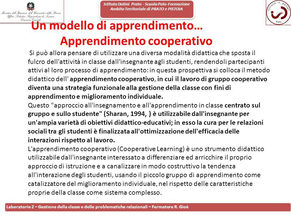 Istituto Datini Prato - Scuola Polo-Formazione Ambito Territoriale di PRATO e PISTOIA 111 Laboratorio 2 – Gestione della classe e delle problematiche