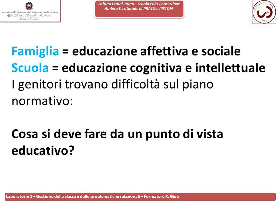 Istituto Datini Prato - Scuola Polo-Formazione Ambito Territoriale di PRATO e PISTOIA 16 Laboratorio 2 – Gestione della classe e delle problematiche r
