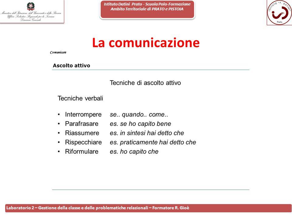 Istituto Datini Prato - Scuola Polo-Formazione Ambito Territoriale di PRATO e PISTOIA 33 Laboratorio 2 – Gestione della classe e delle problematiche r