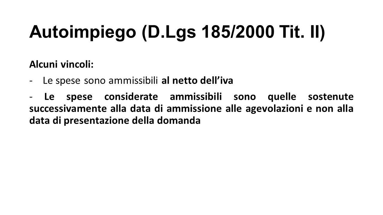 Autoimpiego (D.Lgs 185/2000 Tit.