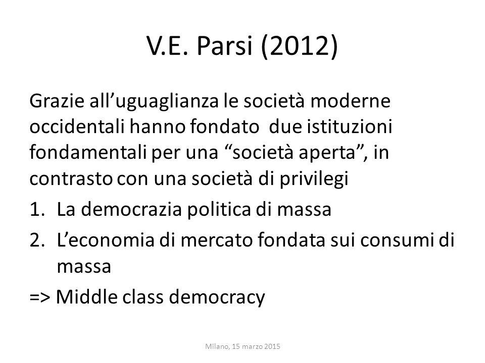 """V.E. Parsi (2012) Grazie all'uguaglianza le società moderne occidentali hanno fondato due istituzioni fondamentali per una """"società aperta"""", in contra"""