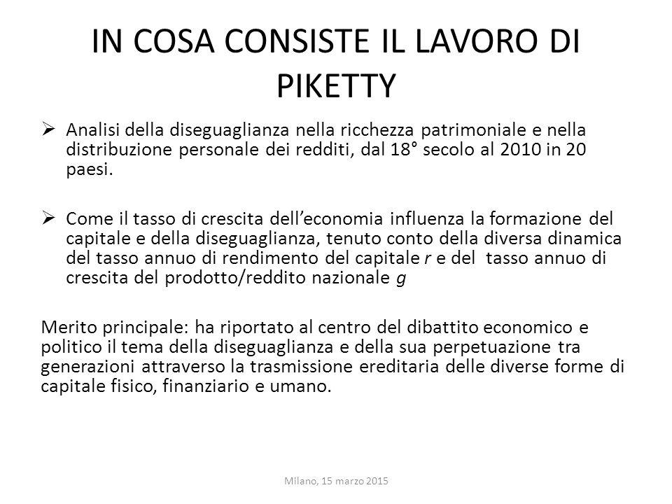 IN COSA CONSISTE IL LAVORO DI PIKETTY  Analisi della diseguaglianza nella ricchezza patrimoniale e nella distribuzione personale dei redditi, dal 18°