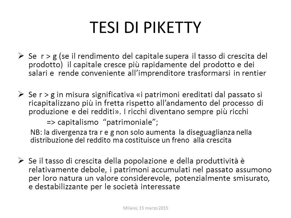 Tesi (2)  Se si riduce la partecipazione al processo di formazione del capitale umano da parte di una quota significativa della popolazione si riduce la mobilità sociale.