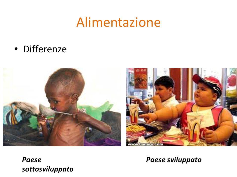 Alimentazione Differenze Paese sottosviluppato Paese sviluppato