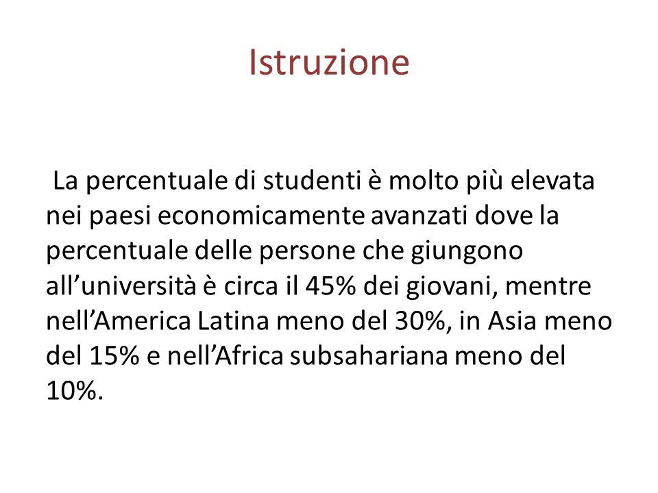 Istruzione La percentuale di studenti è molto più elevata nei paesi economicamente avanzati dove la percentuale delle persone che giungono all'università è circa il 45% dei giovani, mentre nell'America Latina meno del 30%, in Asia meno del 15% e nell'Africa subsahariana meno del 10%.