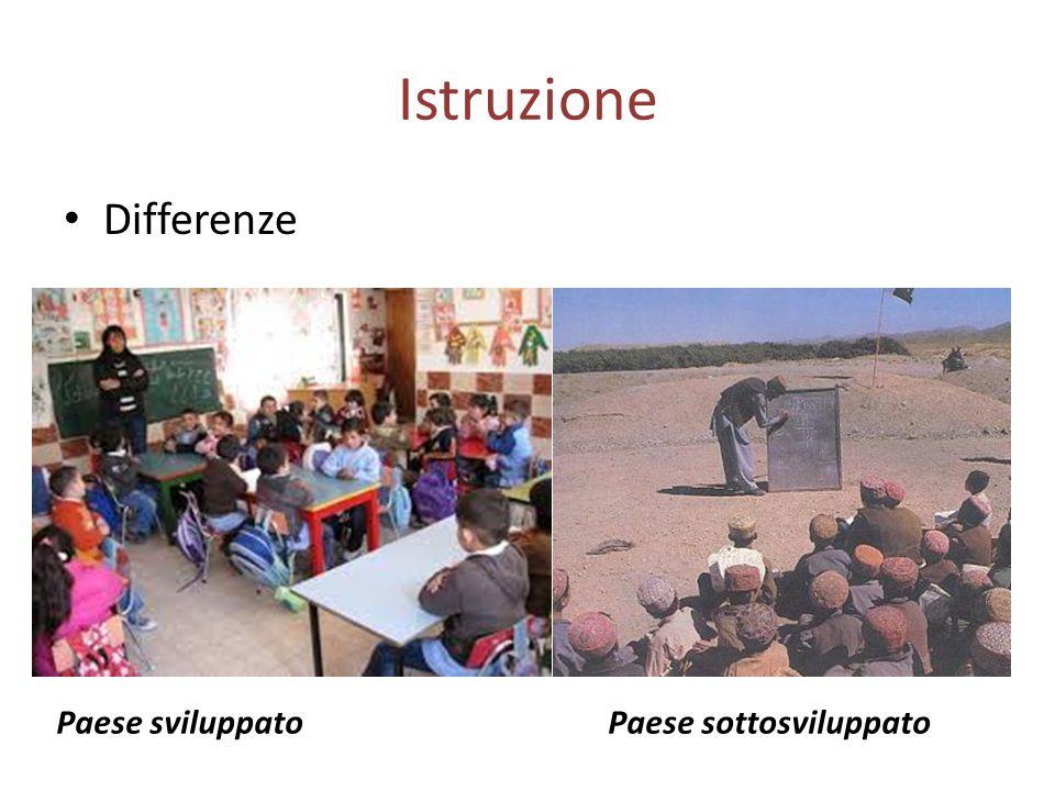 Istruzione Differenze Paese sviluppato Paese sottosviluppato