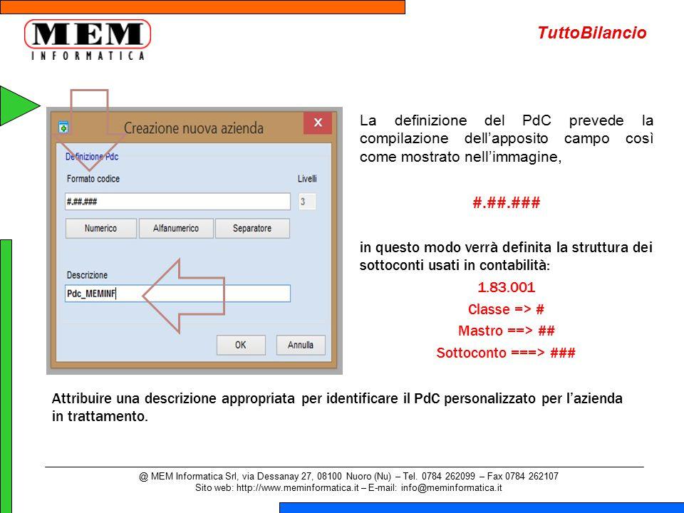 La definizione del PdC prevede la compilazione dell'apposito campo così come mostrato nell'immagine, #.##.### in questo modo verrà definita la struttu