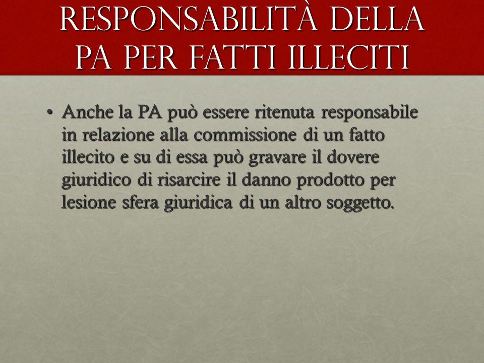 Responsabilità della pA per fatti illeciti Anche la PA può essere ritenuta responsabile in relazione alla commissione di un fatto illecito e su di ess