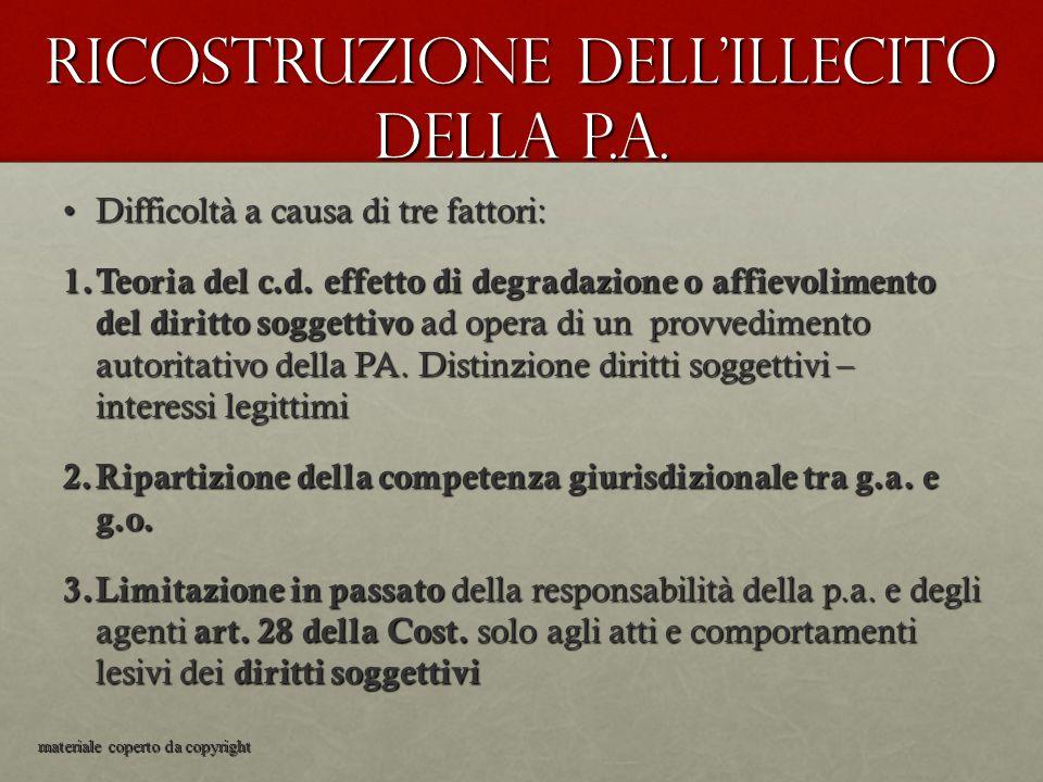 Ricostruzione dell'illecito della p.a. Difficoltà a causa di tre fattori:Difficoltà a causa di tre fattori: 1. Teoria del c.d. effetto di degradazione
