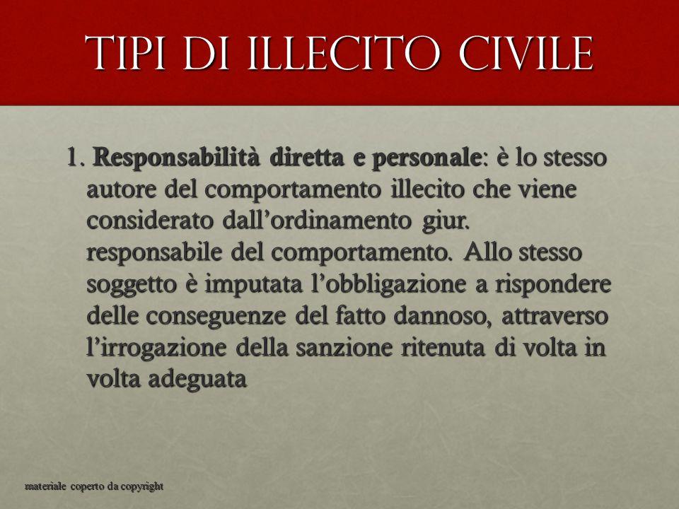 Tipi di illecito civile 1. Responsabilità diretta e personale : è lo stesso autore del comportamento illecito che viene considerato dall'ordinamento g