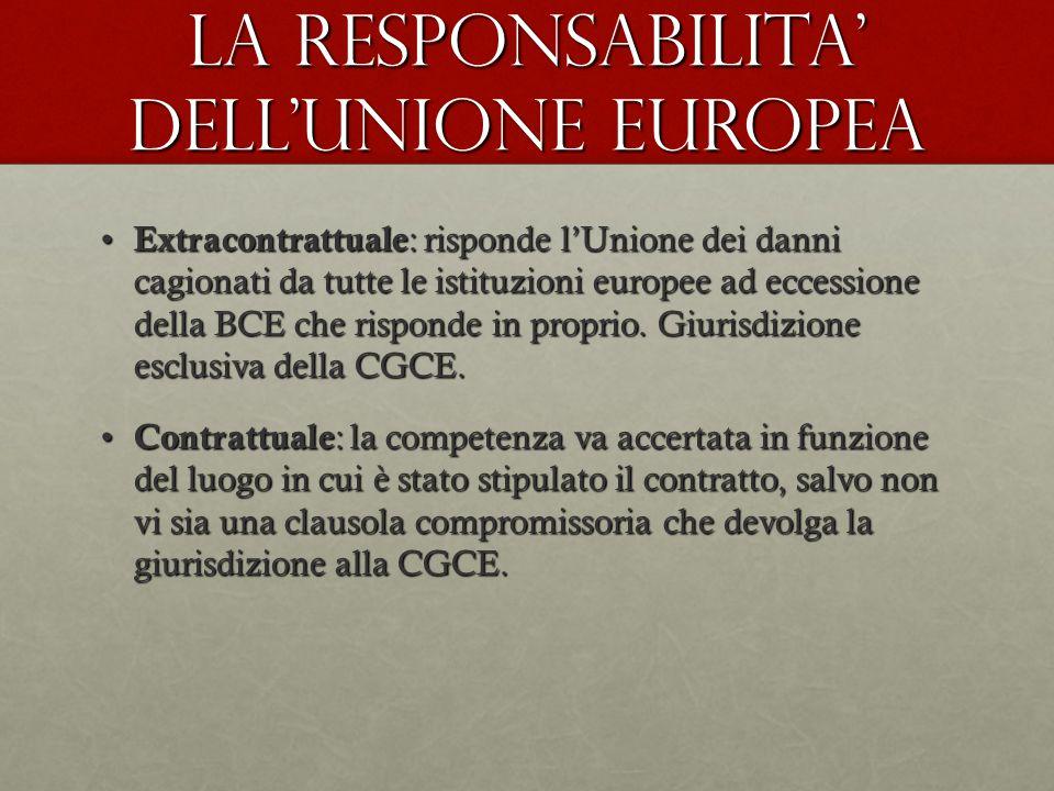 La responsabilita' dell'unione europea Extracontrattuale : risponde l'Unione dei danni cagionati da tutte le istituzioni europee ad eccessione della B