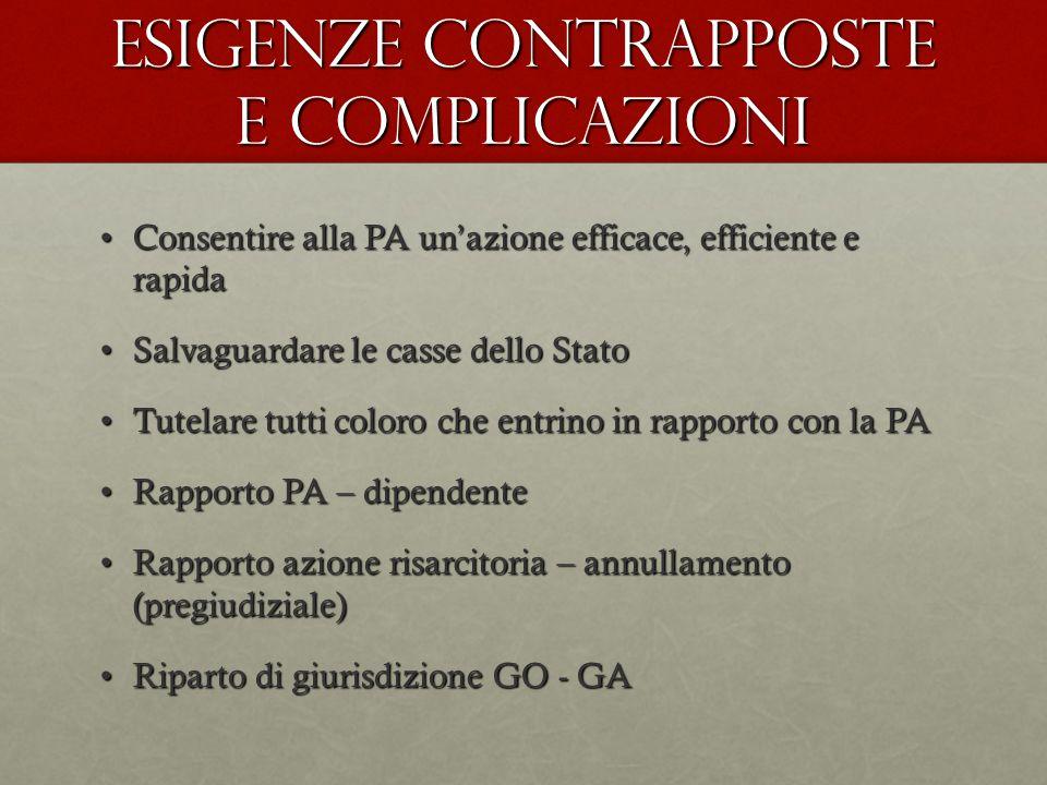 Esigenze contrapposte e complicazioni Consentire alla PA un'azione efficace, efficiente e rapidaConsentire alla PA un'azione efficace, efficiente e ra