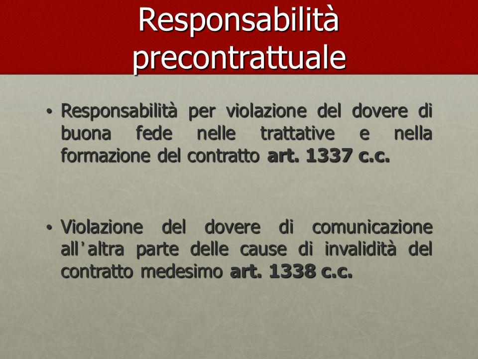 Responsabilità precontrattuale Responsabilità per violazione del dovere di buona fede nelle trattative e nella formazione del contratto art. 1337 c.c.
