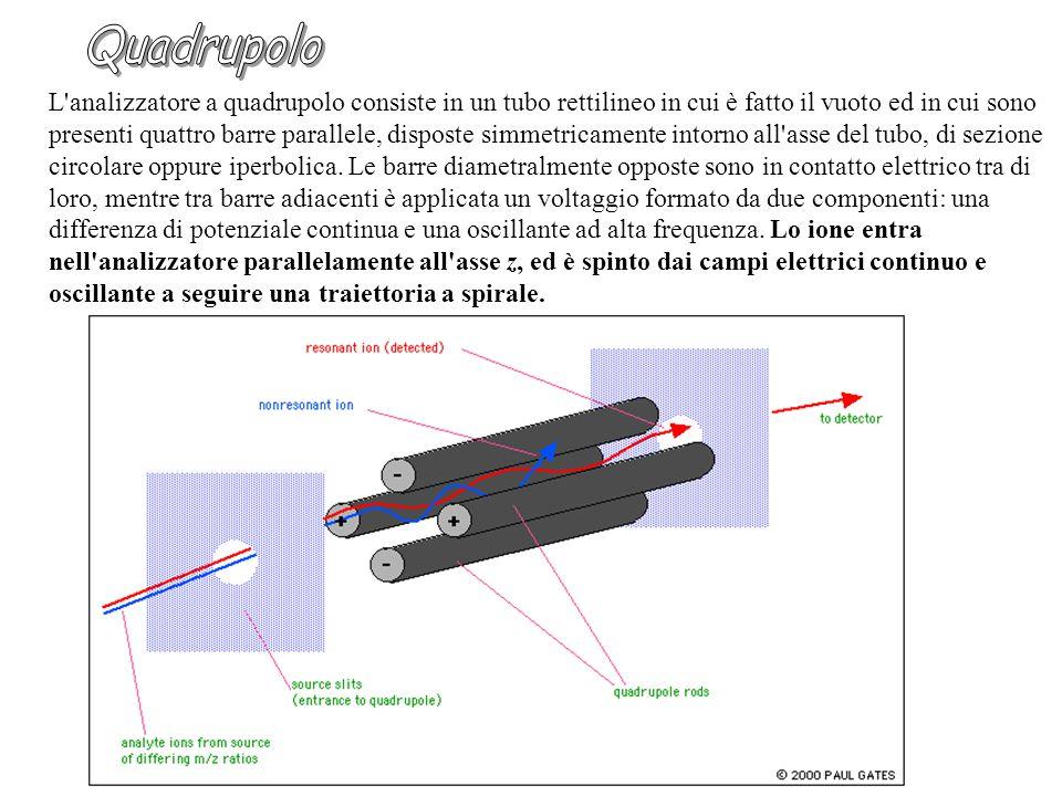 L analizzatore a quadrupolo consiste in un tubo rettilineo in cui è fatto il vuoto ed in cui sono presenti quattro barre parallele, disposte simmetricamente intorno all asse del tubo, di sezione circolare oppure iperbolica.