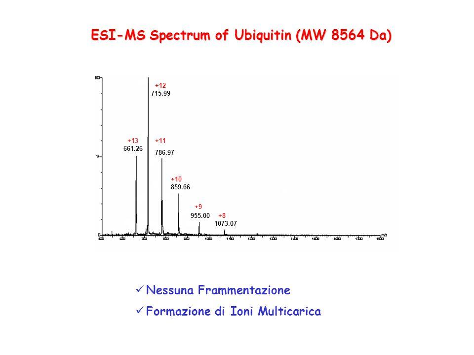 661.26 715.99 786.97 859.66 955.00 1073.07 +13 +12 +11 +10 +9 +8 ESI-MS Spectrum of Ubiquitin (MW 8564 Da) Nessuna Frammentazione Formazione di Ioni M
