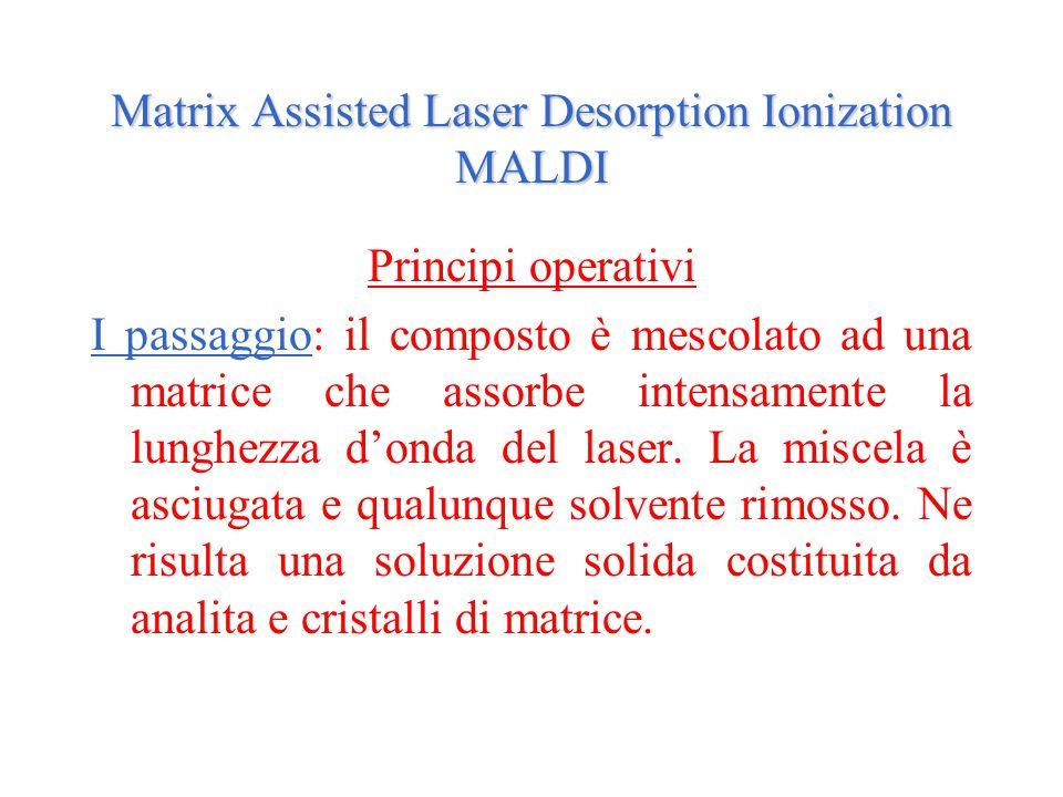 Matrix Assisted Laser Desorption Ionization MALDI Principi operativi I passaggio: il composto è mescolato ad una matrice che assorbe intensamente la l