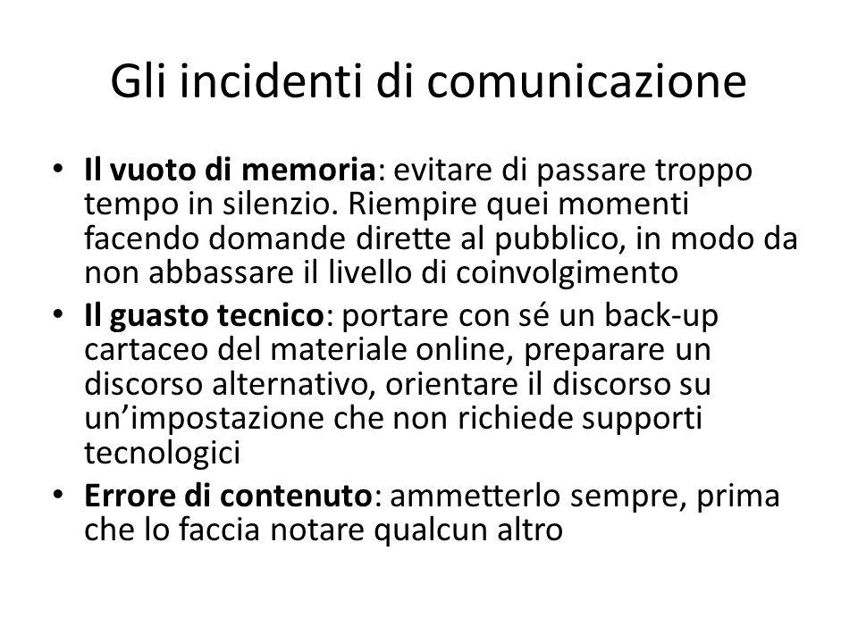 Gli incidenti di comunicazione Il vuoto di memoria: evitare di passare troppo tempo in silenzio. Riempire quei momenti facendo domande dirette al pubb