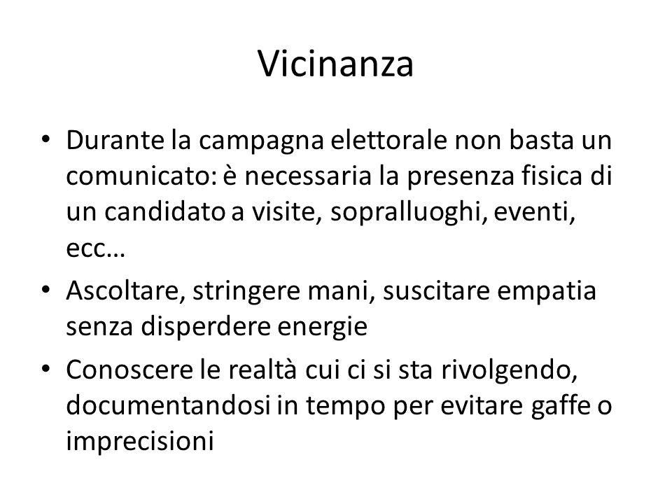 Vicinanza Durante la campagna elettorale non basta un comunicato: è necessaria la presenza fisica di un candidato a visite, sopralluoghi, eventi, ecc…