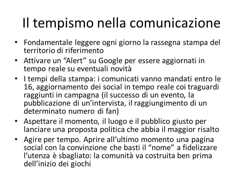 """Il tempismo nella comunicazione Fondamentale leggere ogni giorno la rassegna stampa del territorio di riferimento Attivare un """"Alert"""" su Google per es"""
