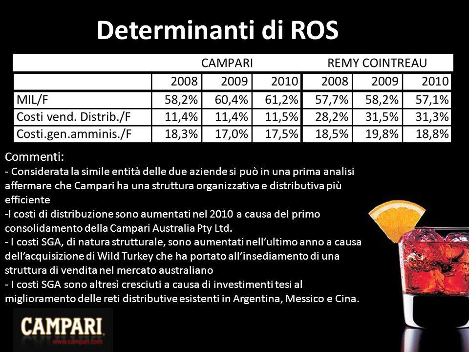 Determinanti di ROS Commenti: - Considerata la simile entità delle due aziende si può in una prima analisi affermare che Campari ha una struttura orga