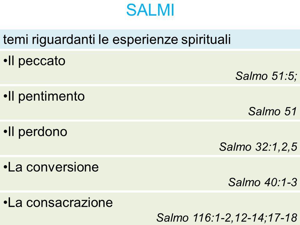 SALMI temi riguardanti le esperienze spirituali Il pentimento Salmo 51 Il perdono Salmo 32:1,2,5 La conversione Salmo 40:1-3 La consacrazione Salmo 11