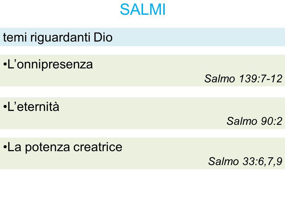 SALMI temi riguardanti Dio L'eternità Salmo 90:2 La potenza creatrice Salmo 33:6,7,9 L'onnipresenza Salmo 139:7-12