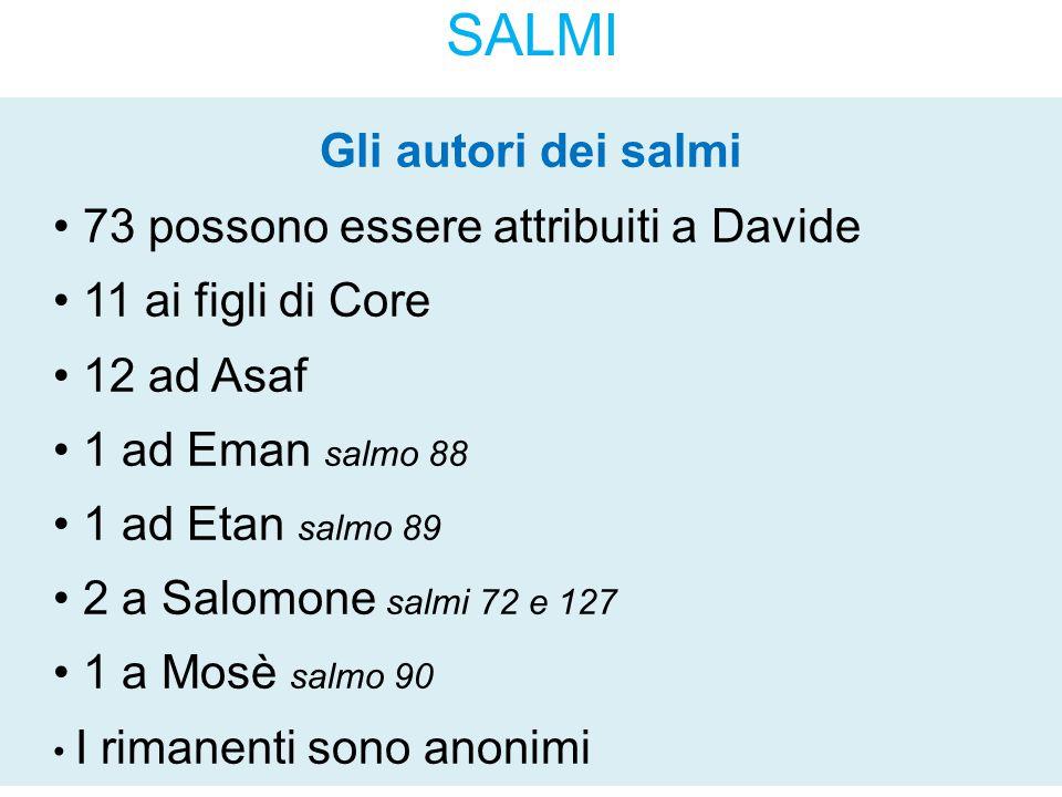 SALMI Gli autori dei salmi 73 possono essere attribuiti a Davide 11 ai figli di Core 12 ad Asaf 1 ad Eman salmo 88 1 ad Etan salmo 89 2 a Salomone sal