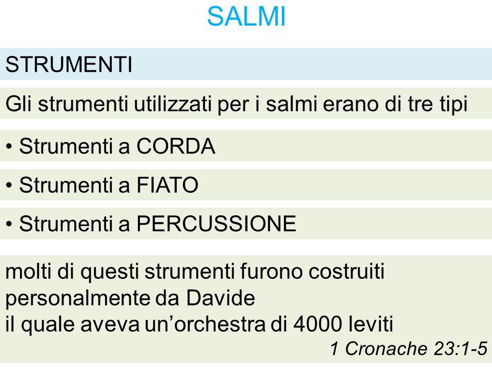 SALMI Gli strumenti utilizzati per i salmi erano di tre tipi Strumenti a CORDA STRUMENTI Strumenti a FIATO Strumenti a PERCUSSIONE molti di questi str