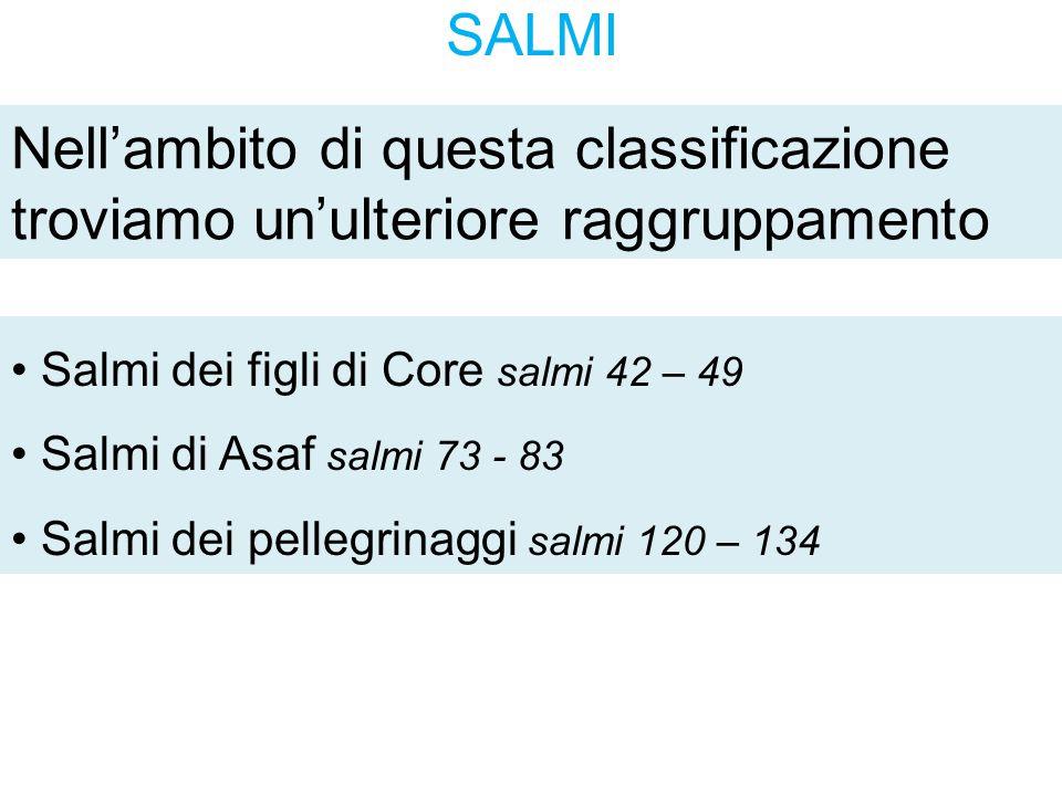 SALMI Nell'ambito di questa classificazione troviamo un'ulteriore raggruppamento Salmi dei figli di Core salmi 42 – 49 Salmi di Asaf salmi 73 - 83 Sal