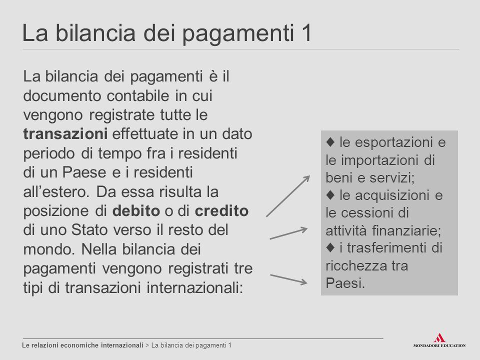 La bilancia dei pagamenti 1 Le relazioni economiche internazionali > La bilancia dei pagamenti 1 La bilancia dei pagamenti è il documento contabile in