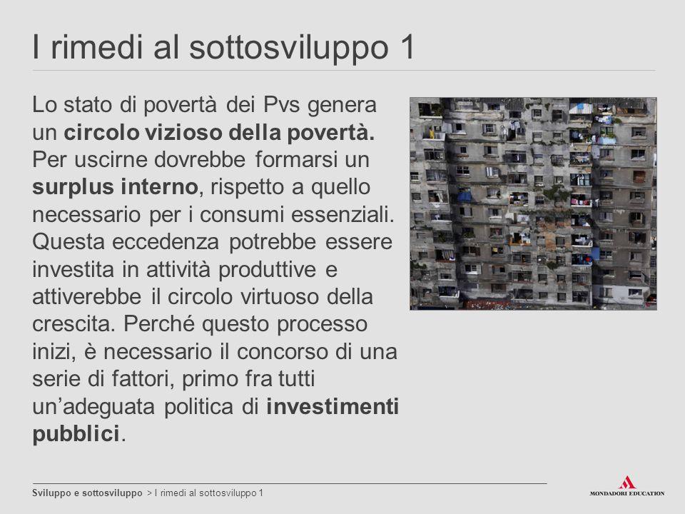 I rimedi al sottosviluppo 1 Sviluppo e sottosviluppo > I rimedi al sottosviluppo 1 Lo stato di povertà dei Pvs genera un circolo vizioso della povertà