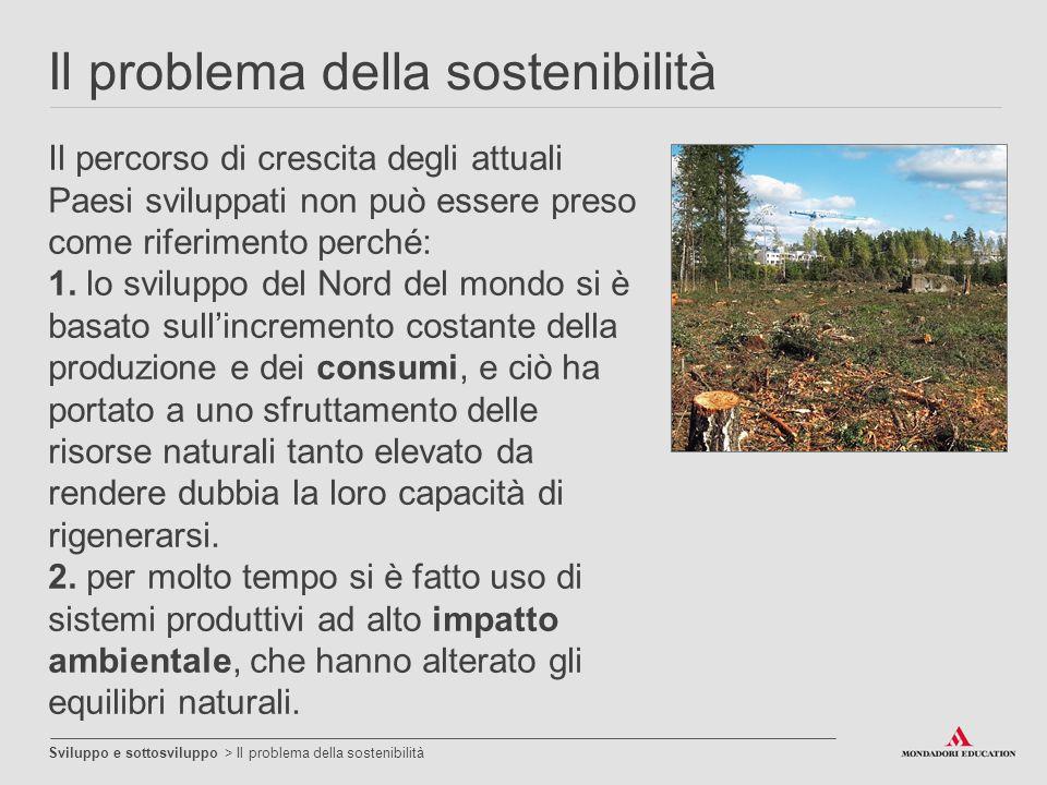 Il problema della sostenibilità Sviluppo e sottosviluppo > Il problema della sostenibilità Il percorso di crescita degli attuali Paesi sviluppati non