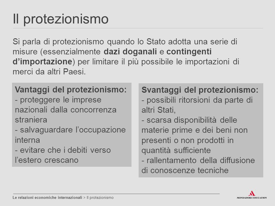 Il protezionismo Le relazioni economiche internazionali > Il protezionismo Si parla di protezionismo quando lo Stato adotta una serie di misure (essen