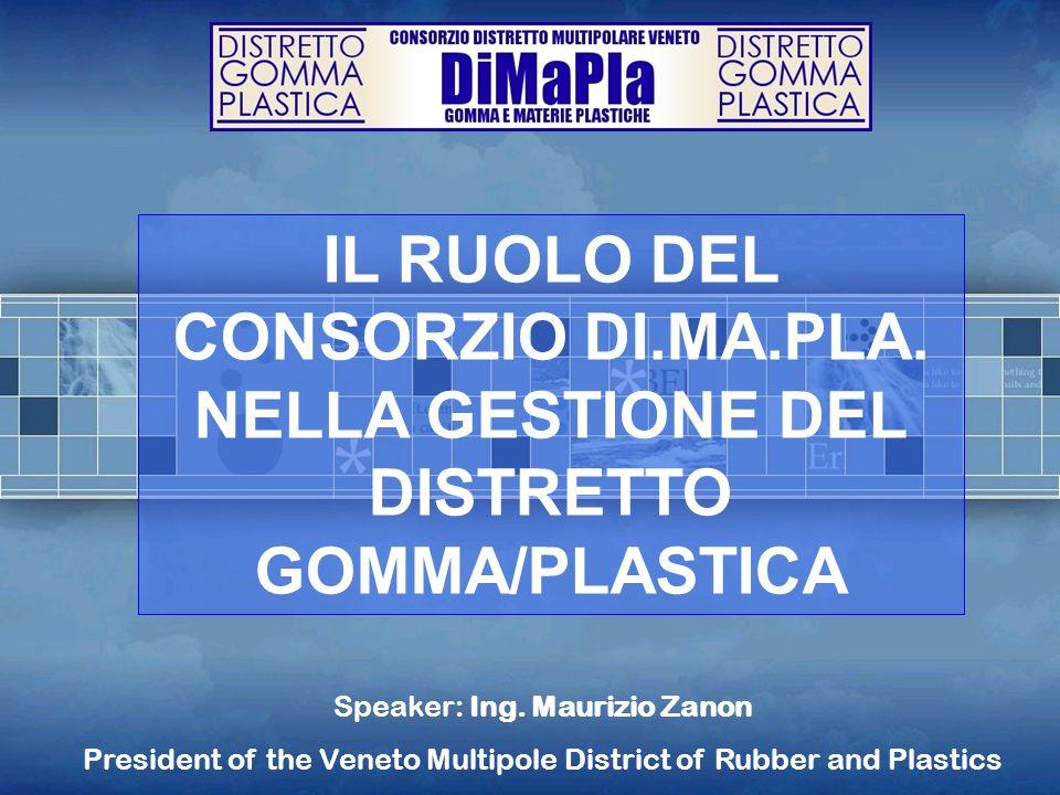 IL RUOLO DEL CONSORZIO DI.MA.PLA. NELLA GESTIONE DEL DISTRETTO GOMMA/PLASTICA Speaker: Ing. Maurizio Zanon President of the Veneto Multipole District