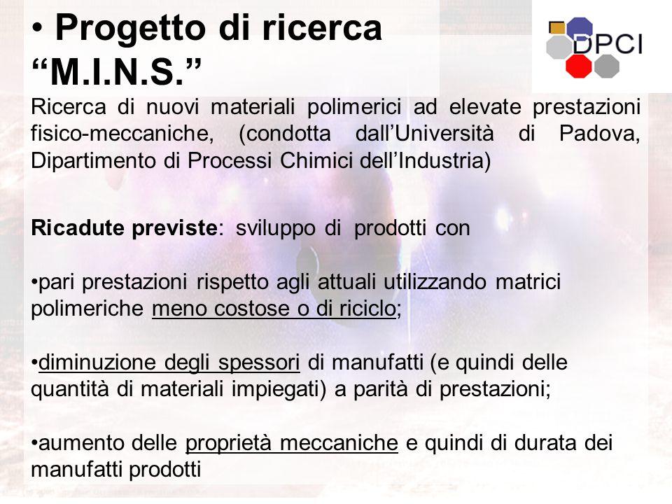 Ricerca di nuovi materiali polimerici ad elevate prestazioni fisico-meccaniche, (condotta dall'Università di Padova, Dipartimento di Processi Chimici