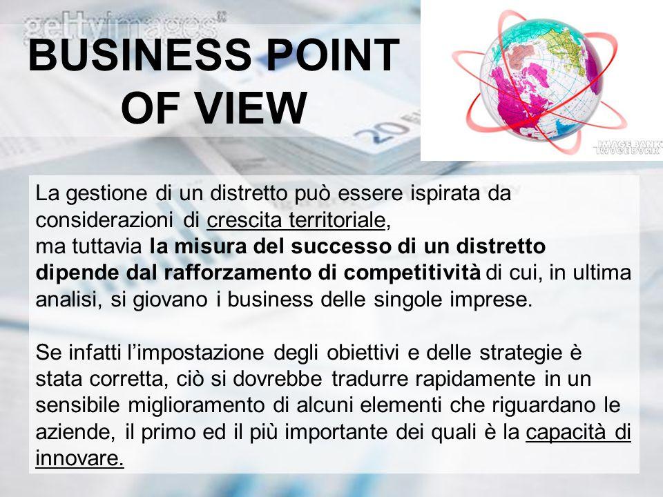 BUSINESS POINT OF VIEW La gestione di un distretto può essere ispirata da considerazioni di crescita territoriale, ma tuttavia la misura del successo