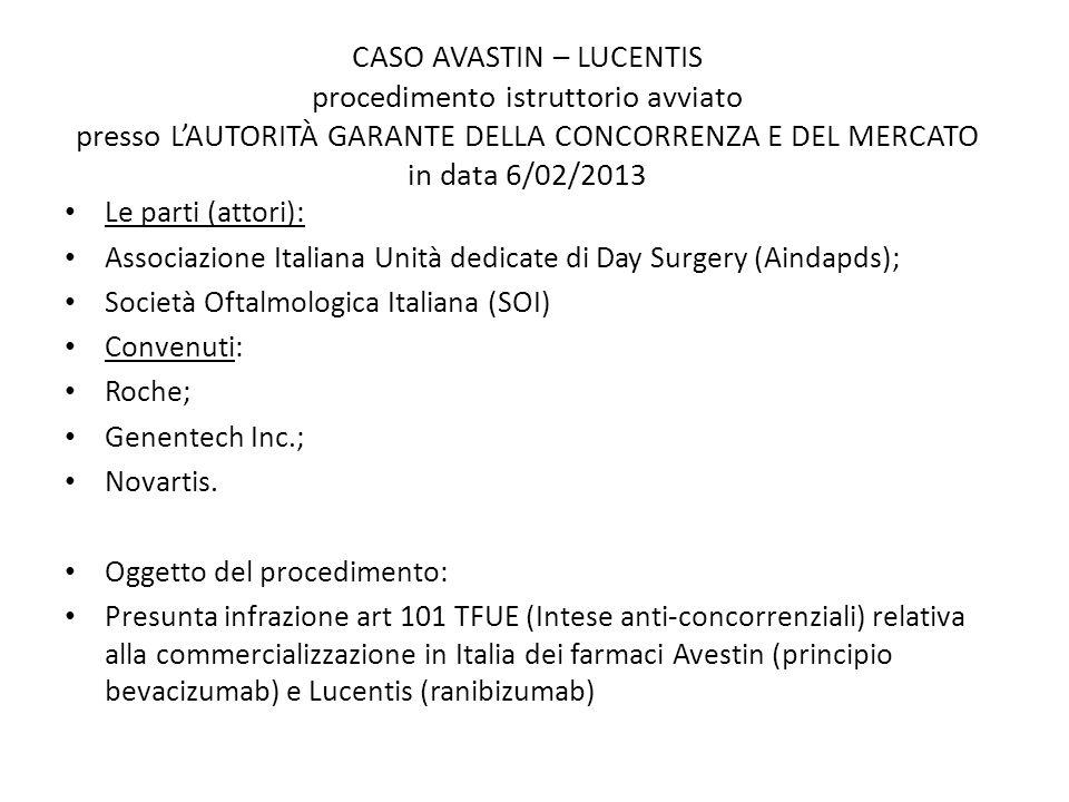 CASO AVASTIN – LUCENTIS procedimento istruttorio avviato presso L'AUTORITÀ GARANTE DELLA CONCORRENZA E DEL MERCATO in data 6/02/2013 Le parti (attori)