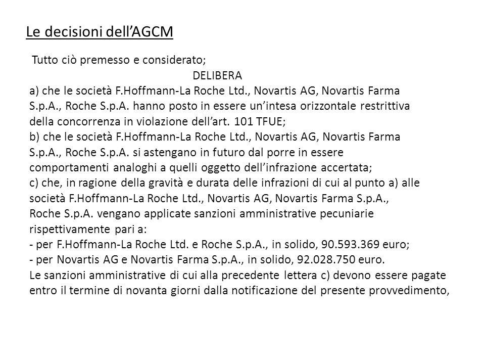 Le decisioni dell'AGCM Tutto ciò premesso e considerato; DELIBERA a) che le società F.Hoffmann-La Roche Ltd., Novartis AG, Novartis Farma S.p.A., Roch
