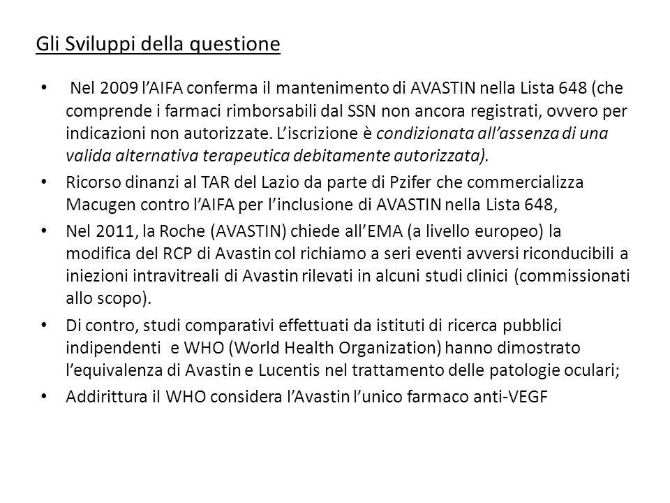 Gli Sviluppi della questione Nel 2009 l'AIFA conferma il mantenimento di AVASTIN nella Lista 648 (che comprende i farmaci rimborsabili dal SSN non anc