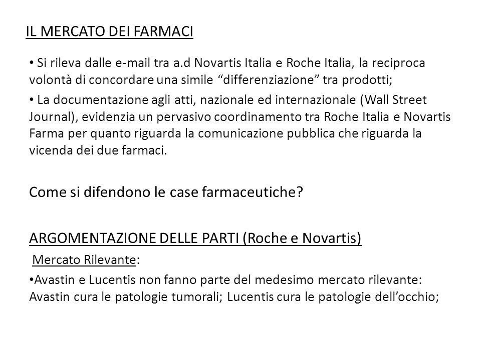 """IL MERCATO DEI FARMACI Si rileva dalle e-mail tra a.d Novartis Italia e Roche Italia, la reciproca volontà di concordare una simile """"differenziazione"""""""