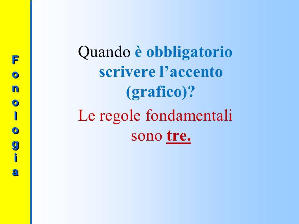 Le forme dell'accento 1)Grave (`) = vocale aperta (vocali o ed e) 2)Acuto (′ ) = vocale chiusa (vocali o ed e) FonologiaFonologia FonologiaFonologia