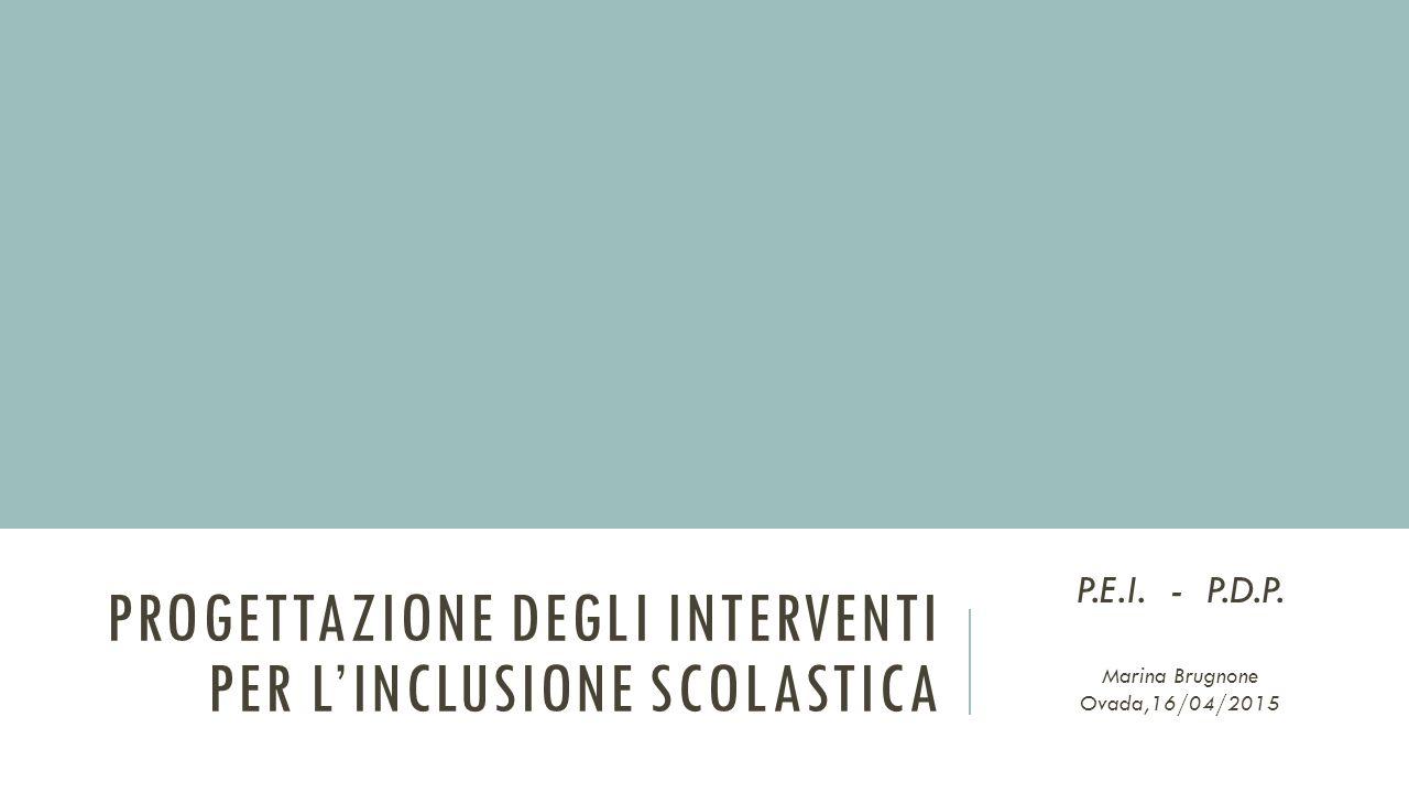PROGETTAZIONE DEGLI INTERVENTI PER L'INCLUSIONE SCOLASTICA P.E.I. - P.D.P. Marina Brugnone Ovada,16/04/2015