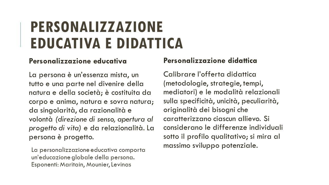 PERSONALIZZAZIONE EDUCATIVA E DIDATTICA Personalizzazione educativa La persona è un'essenza mista, un tutto e una parte nel divenire della natura e de