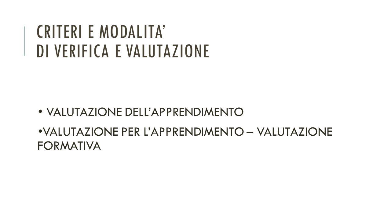 CRITERI E MODALITA' DI VERIFICA E VALUTAZIONE VALUTAZIONE DELL'APPRENDIMENTO VALUTAZIONE PER L'APPRENDIMENTO – VALUTAZIONE FORMATIVA
