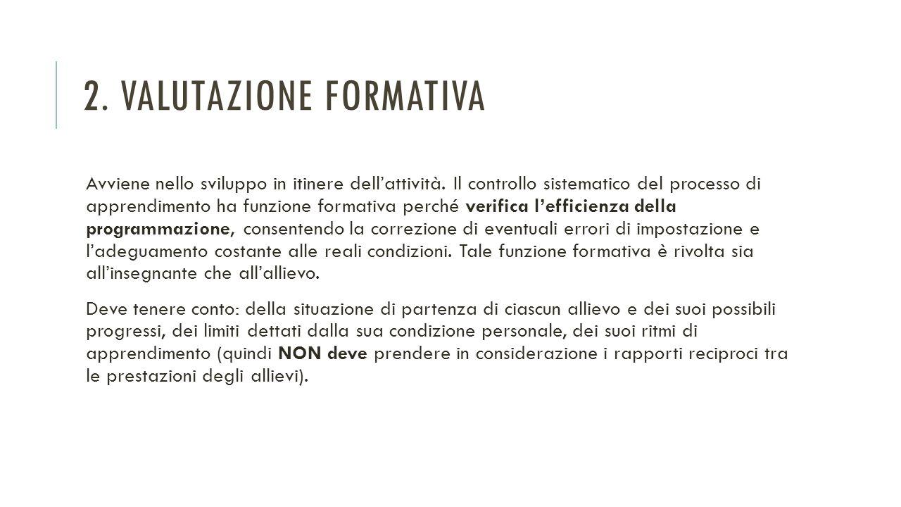 2. VALUTAZIONE FORMATIVA Avviene nello sviluppo in itinere dell'attività. Il controllo sistematico del processo di apprendimento ha funzione formativa