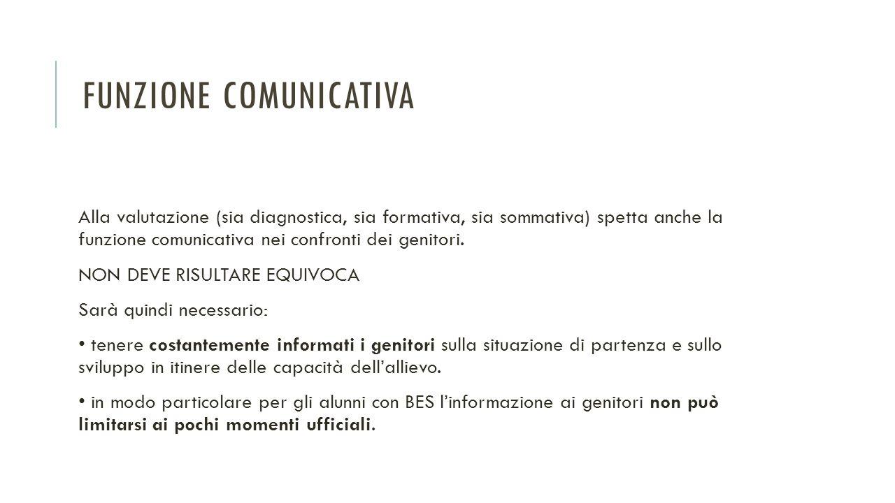 FUNZIONE COMUNICATIVA Alla valutazione (sia diagnostica, sia formativa, sia sommativa) spetta anche la funzione comunicativa nei confronti dei genitor