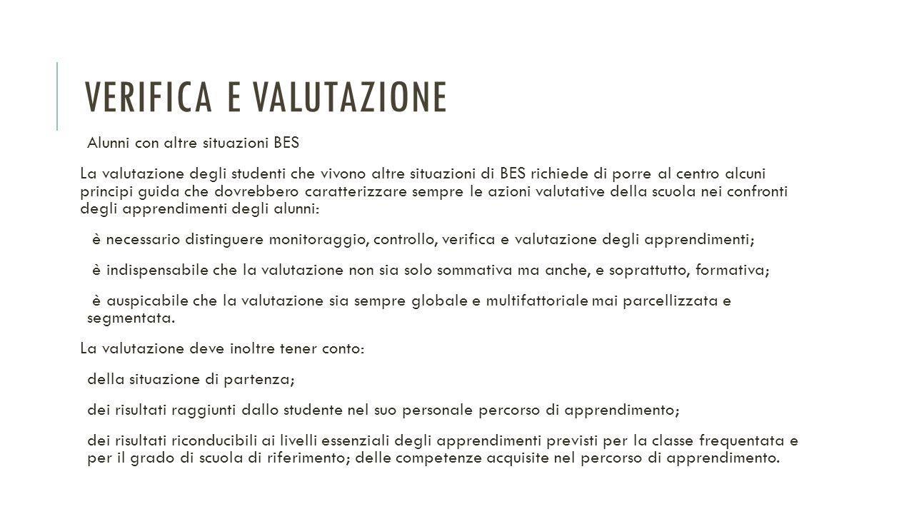VERIFICA E VALUTAZIONE Alunni con altre situazioni BES La valutazione degli studenti che vivono altre situazioni di BES richiede di porre al centro al
